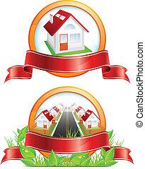 maisons, rond, icône