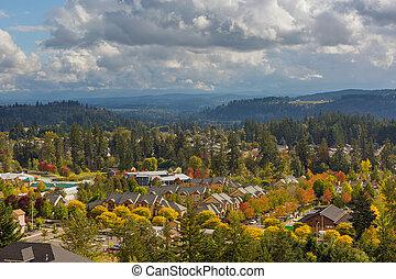 maisons, saison, orégon, automne, pendant, vallée, heureux