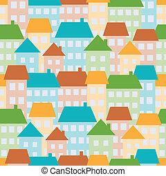 maisons, seamless, modèle