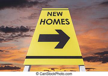 maisons, signe, nouveau