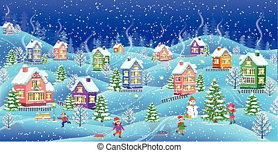 maisons, snowcovered, paysage hiver, nuit