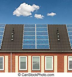 maisons, solaire, hollandais, nouveau, panneaux, rang