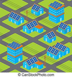 maisons, solaire, modèle