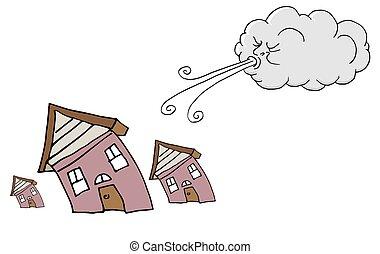 maisons, souffler, venteux, nuage, jour, vent