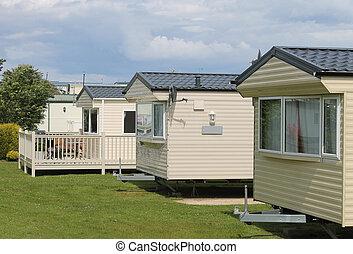 maisons, statique, parc, caravane, caravane