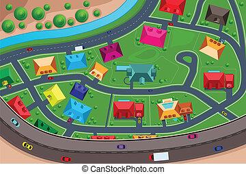 maisons, suburbain, affiché, au-dessus