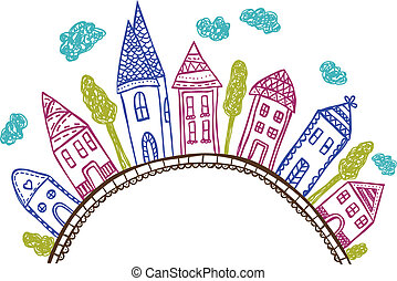 maisons, sur, colline, -, griffonnage, illustration