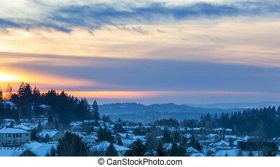maisons, sur, soir, hiver, neigeux, résidentiel, défaillance, orégon, coucher soleil, 4k, temps, vallée, suburbain, heureux