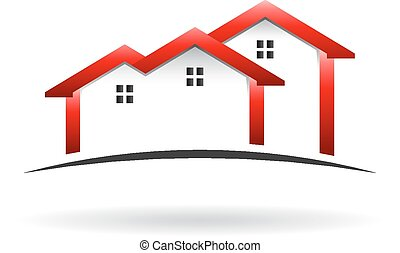 maisons, toit, logo
