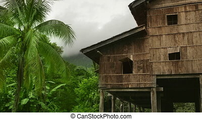 maisons, tribal, bornéo