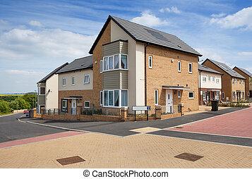 maisons, typique, résidentiel, propriété, anglaise