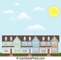 maisons urbaines, ensoleillé, rang