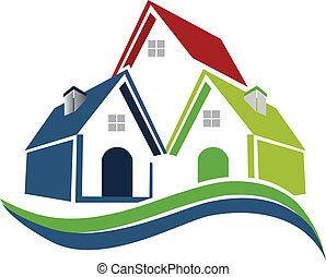 maisons, vagues, logo
