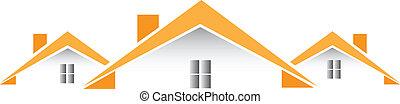 maisons, vecteur, architectural, logo