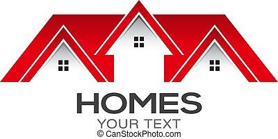 maisons, vecteur, conception, vente, logo