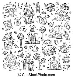 maisons, vecteur, ensemble, dessin animé