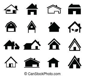 maisons, vecteur, ensemble, icône