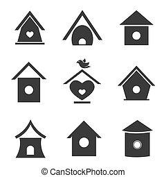 maisons, vecteur, groupe, oiseau