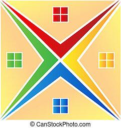 maisons, vecteur, logo