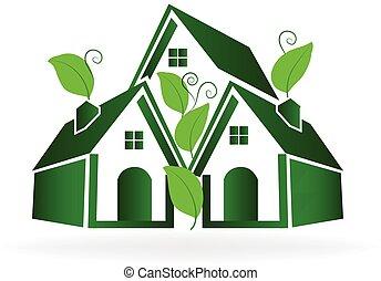 maisons, vecteur, vert, logo