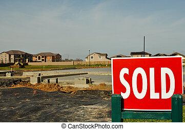 maisons, vendu, nouveau, fond, signe