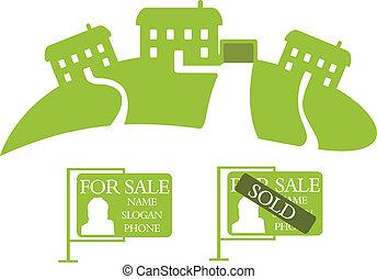 maisons, vert, trois, vente
