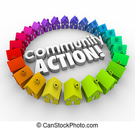 maisons, voisinage, coalition, communauté, mots, action, groupe