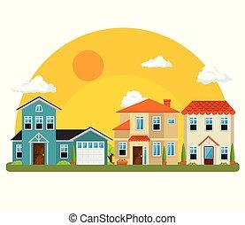 maisons, voisinage, coloré
