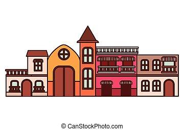 maisons, voisinage, isolé, icône
