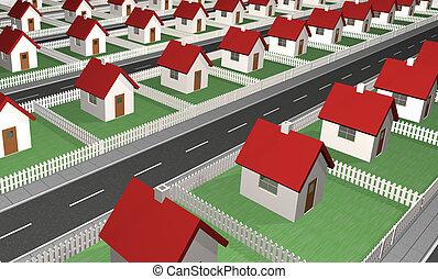 maisons, -, voisinage, résidentiel