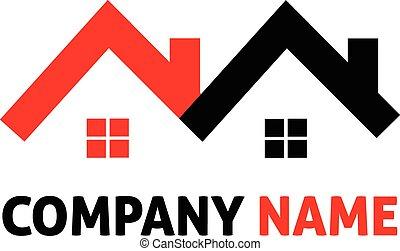 maisons, vrai, logo, propriété