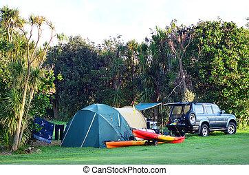 maitai, baía, conservação, campsite