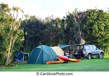 Maitai Bay conservation campsite - KARIKARI, NZ - JAN 10:...