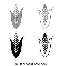 Maize icon set grey black color