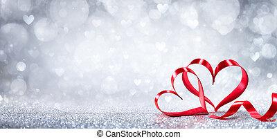 mający kształt, list miłosny, -, ozdoba, tło, serca, błyszczący, dzień, wstążka
