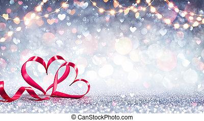 mający kształt, list miłosny, -, wstążka, światła, karta, tło, serca, błyszczący, srebro, czerwony