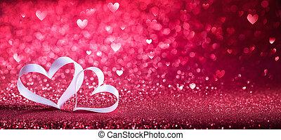mający kształt, list miłosny, -, wstążka, tło, serca, błyszczący, dzień, czerwony