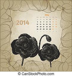 maj, årgång, vallmoer, hand, botanisk, calendar., penna, bläck, artistisk, serie, oavgjord, kalender, en, 2014., kort