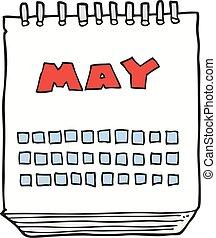maj, visande, kalender, tecknad film, månad