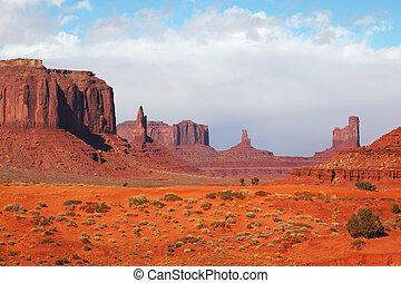 majestátní, údolí, pomník