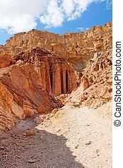 majestätisch, amram, pfeiler, steinen, in, der, wüste, bei,...