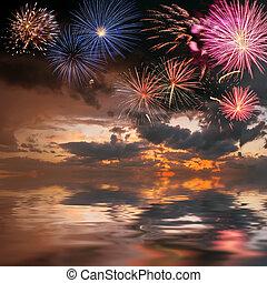 majestätisch, feiertag, feuerwerk, himmelsgewölbe
