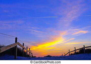 majestätisch, himmelsgewölbe, an, sonnenuntergang