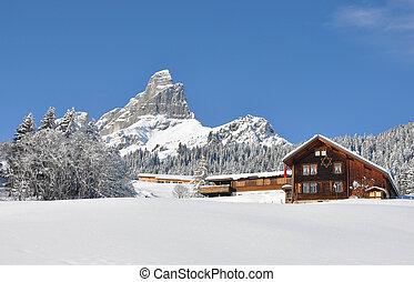 majestätisch, schweiz, ansicht., alpin