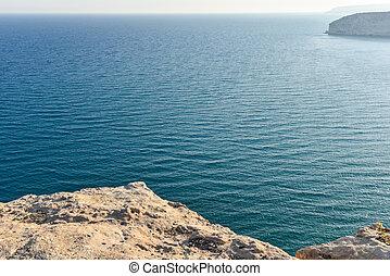 majestätisk, sjögång se, från, a, klippa