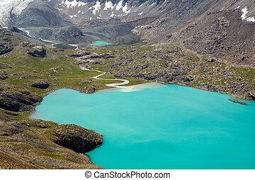 majestatyczny, góra, kyrgyzstan, jezioro, ala-kul
