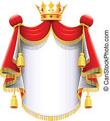 majestatyczny, korona, królewski, złoty, płaszcz