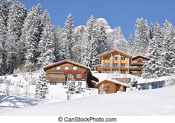 majestatyczny, szwajcaria, prospekt., alpejski