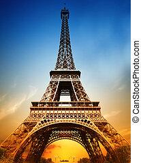 majestatyczny, wieża, eiffel