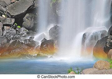 majestatyczny, wodospad, z, barwny, tęcza
